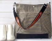 Waxed canvas bag, Diaper bag / Nautical tote bag / Messenger bag  Black striped Stockholm geometric Leather Tote / Vogue