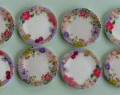 Custom order:  Set of eight pretty floral plates