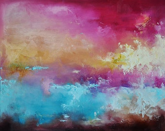 "Original Abstract Painting Modern Colorful Abstract Art Pink Yellow Blue Modern Art UNSTRETCHED Rolled in a Tube 20""x24"""