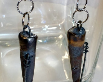 Avante Gard Punk Rustic Charcoal Porcelain Dangle Earrings