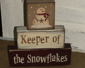Handmade Keeper of the Snowflakes Primitive Wood Stacking Block Set - Christmas Decor - Primitive Snowman Decor - Decoration - Table Sitter