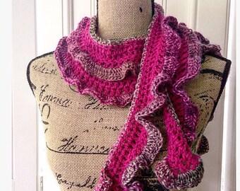 Scarf, Skinny Scarf, Extra Long, Colorful, Crochet Scarf, Ruffled Scarf, Crochet Sash, Wrap, Belt, Handmade, Fuschia Crochet Scarf