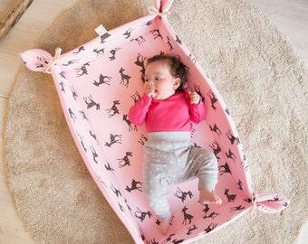 Baby Playmat, Play Mat, Baby Play Mat, Travel Play Mat, Padded Play Mat, Padded Playmat, Folding Plat Mat, Roll-up Play Mat in Pink