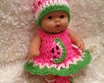 Clothes For 10 Inch Berenguer/Reborn Dolls. Watermelon  Dress Set