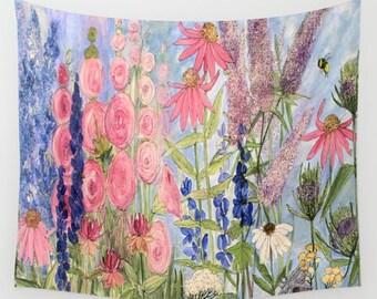 Wall Tapestry Pink Hollyhocks Larkspur Queen Anne Lace Garden Botanical Art