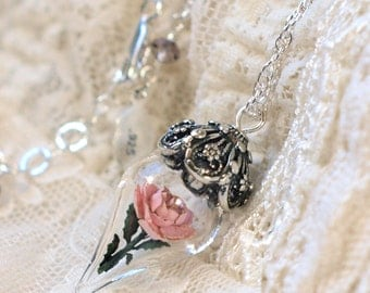 ON SALE Antique Pink Rose Flower Glass Terrarium Necklace by Woodland Belle