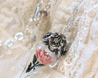 ON SALE Antique Pink Rose Flower Glass Terrarium Necklace by Woodland Belle