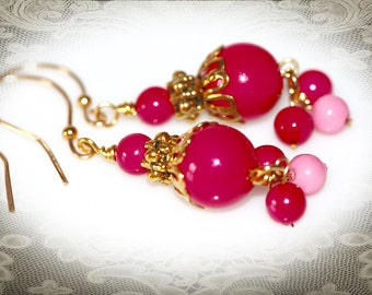 Pink and Gold Vintage Beaded Earrings. Repurposed Art Deco Jewelry with Vintage Beads