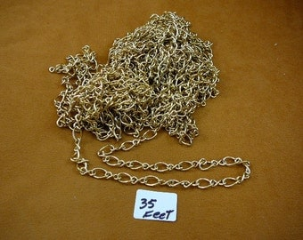 Bulk 35 (thirty-five) feet Gold color brass chain footage Wholesale supply supplies Jewelry necklace crafts (CL-2)