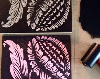 Thistle Linocut Print 5 x 7in.
