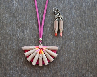 Set of Hot colors Unusual Pencil Necklace and Earrings  - Handmade Polymer Clay Faux Pencil jewelry