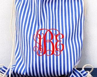Monogram drawstring Backpack Blue Black Stripes
