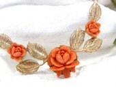 Vintage FAUX CORAL ROSE Necklace Gold Leaf Necklace Floral Flowers