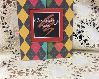 Happy Birthday Plaid Flip Fold Handmade Card, Fun Fold