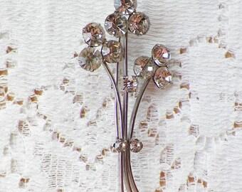 Sweet Vintage Clear Rhinestone Flower Bouquet Brooch / Pin / Broach, Austria, Silver Tone Metal, Rhinestones, Bride / Bridal / Wedding