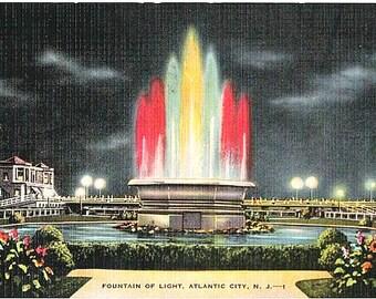 Atlantic City Vintage Postcard - The Fountain of Light by Night (Unused)