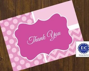 Pink Chevron and Polka Dot Thank You Card, Thank You Card, Chevron, Chevron and Polka Dots, Pink - Instant Download