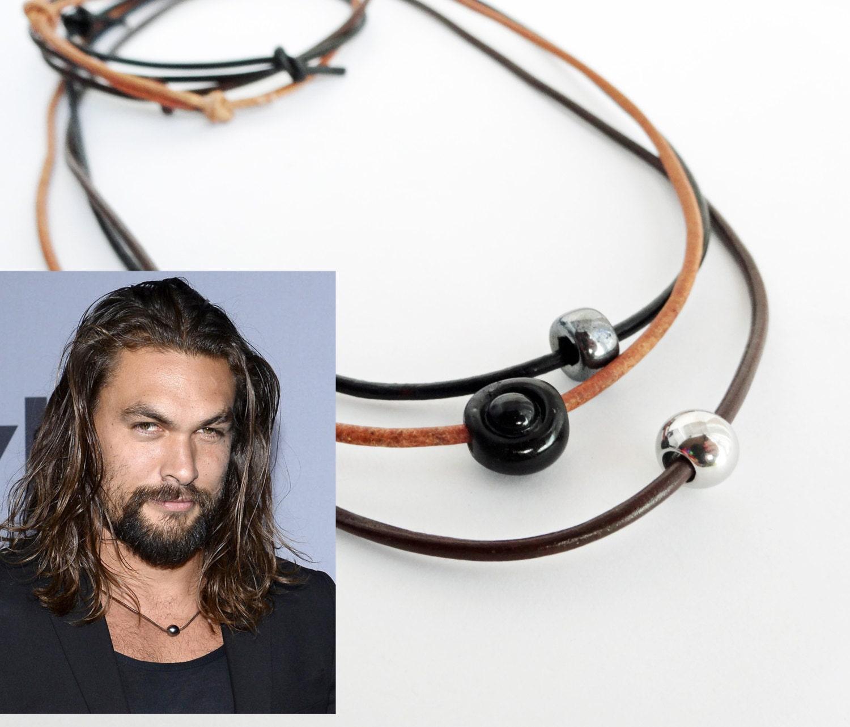 Jason Momoa Ponytail: SALE Everday Necklace For Him Adjustable Cotton Or Leather