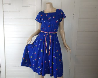 80s Royal Blue Cotton Dress in New Wave Brushstroke Floral- 1980s Rainbow Punk- Short Sleeves- Small