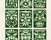 Green Men. Linocut.