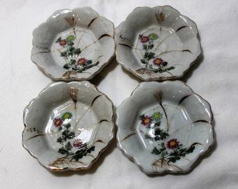 Set of 4 Antique Porcelain Sauce Bowls, Condiment Bowls, Butter Pats, Floral Design