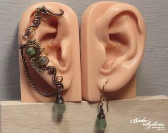 Dryad EAR WRAP & earring SET - wire wrapped copper and brass ear cuff, adjustable ear wrap, no piercing ear cuff, kyanite jewelry, earrings