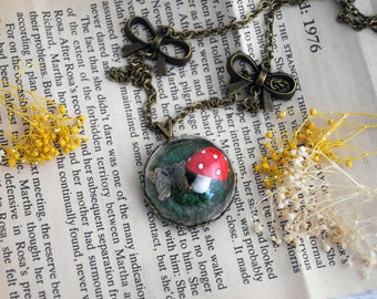Mushroom and Butterfly Terrarium Paradise Rose Necklace