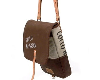 Brown Messenger Bag, Small Crossbody Bag, Canvas Bag Notebook, Recycled Canvas Tent Leather Jacket / Upcycled & Handmade in GERMANY-2156