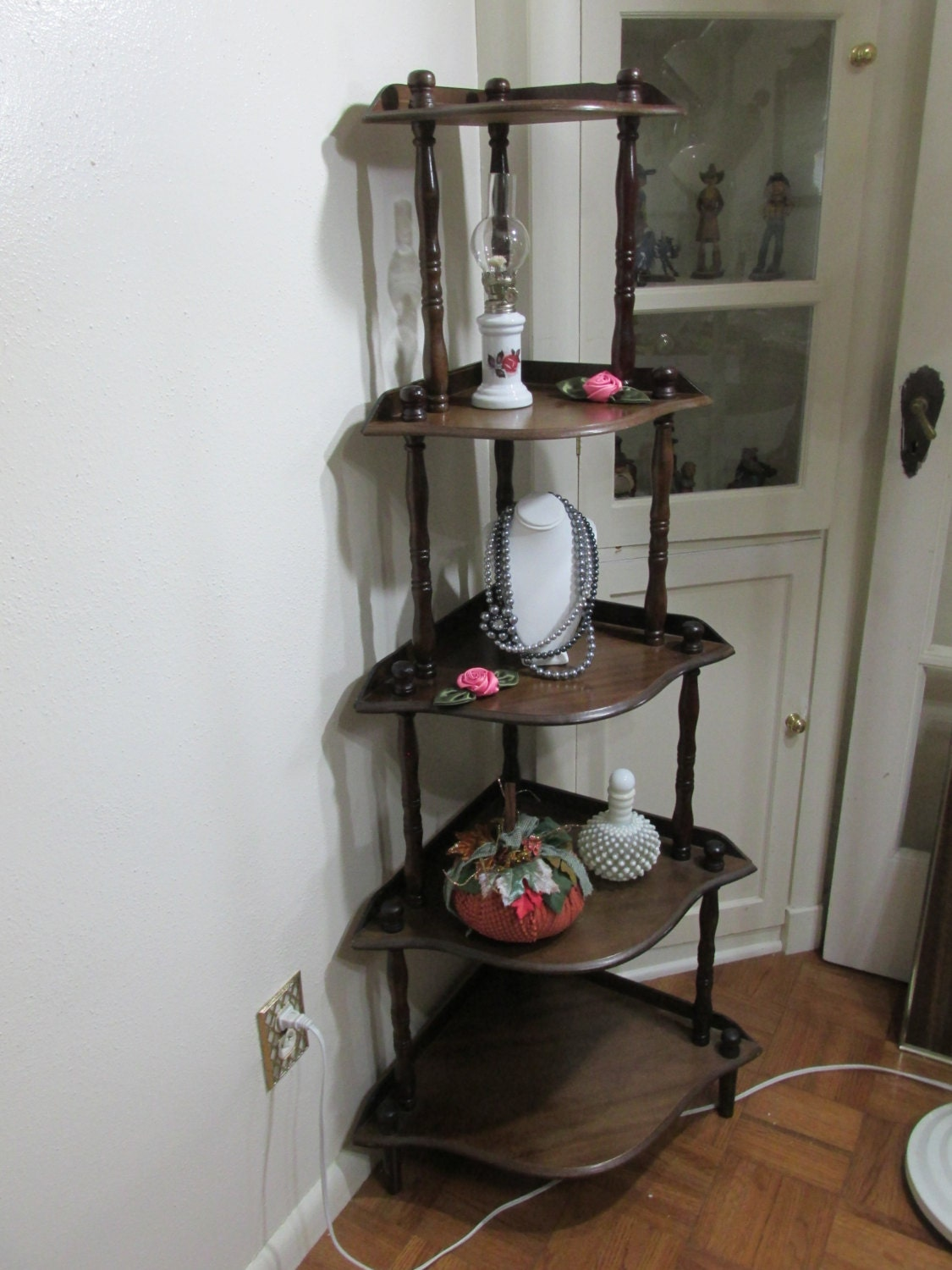 Corner Shelf Vintage Wood 5 Tier Stand Assemble Required