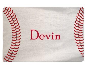 """Custom Personalized Stitched Baseball Theme Bath Mat -Plush Memory Foam, 27x18"""""""