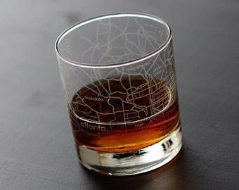 Atlanta Maps Rocks Glass