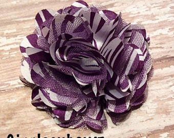 Purple Stripe Satin/Tulle Puff Flower- 3 inch- Headband Supplies- Fabric Flower- Craft Supplies- Diy Flowers- Headband Flower