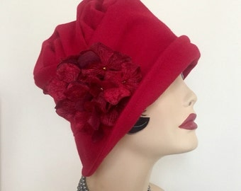 Red Winter Hat Cloche - Wool Fabric Hat - Flapper Style Cloche - 1920's Cloche - Elegant Winter Cloche - Chemotherapy Cloche - Flapper Hat
