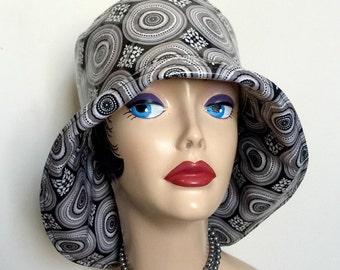 Rainy Day Hat - Rain Wear Cloche - Designer Rain Hats - Black and White RainHat -Hats by TheWaughdrobe - Water Resistant Hat - Handmade USA