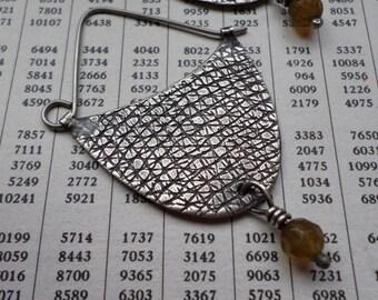 Sterling Silver Hoop Earrings, Green Garnet Modern Contemporary Artisan Urban Textural Crescent Hoops, Earthy Handwrought Silver Jewelry
