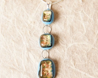 Handmade Dichroic Fused Glass Pendant Necklace