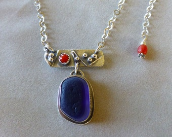 Blue English Sea Glass and Sterling Necklace with Coral, Seaham Sea Glass
