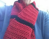 Red and Black Crocheted Neck Scarf