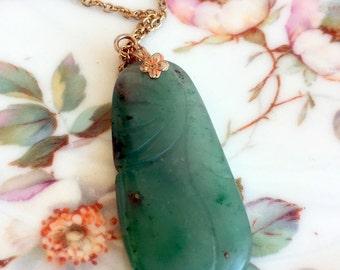 Vintage Carved Green Nephrite Jade  Necklace Pendant