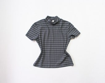 90s Mock Turtleneck / 1990s J Crew Stretch Striped Shirt / Soft Grunge / Ribbed Knit / Small / Medium