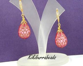 Drop Earrings Pink Drop Earrings Pink Carved Teardrop Earrings