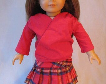 """Red Criss-cross Long Sleeve Shirt and Red Plaid Pleated Skirt Outfit fits American Girl Doll 18"""" Doll Clothes school outfit blouse"""