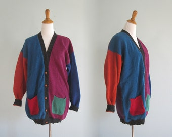 Vintage 90s Colorblock Wool Cardigan - Slouchy and Colorful Wool Sweater by Woolrich - Vintage 1990s Cardigan L XL