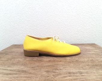 vintage 70s ZODIAC yellow CANVAS lace up OXFORD shoes - size 6.5 us 37 eur