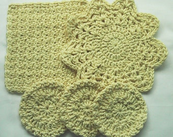 5 Piece Set - Facial Wash Cloth, Round Cloth & 3 Scrubbies - Hand Crocheted - Cotton Yarn-Pale Yellow - Pamper Yourself - Nice Gift for Mom