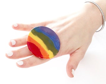 Rainbow Ring Ceramic ring, gay pride ring, handmade ring, Chakra ring, statement ring, cocktail ring, hand made ring by Studioleanne