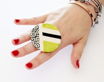 Statement Ceramic Ring -  Big ring, Bold ring, Geometric ring, Spring fashion, Cocktail Ring, Handmade ring by Studioleanne - 2.1 inch
