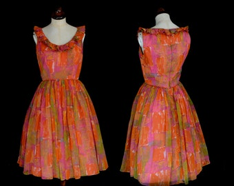 Original Vintage 1950s Orange Mid Century Party Dress - x Small - FREE SHIPPING WORLDWIDE