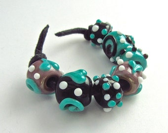 Big Hole Lampwork Bead Set - Handmade Beads SRA