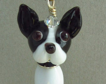 Boston Terrier Ornament - Lampwork Glass Beads SRA
